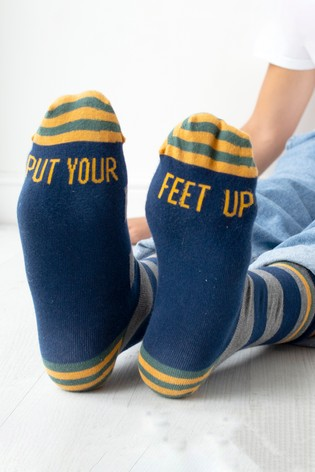 Put Your Feet Up Patterned Slogan Socks by Solesmith