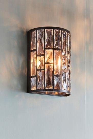 Gallery Direct Black Bella Crystal Wall Light