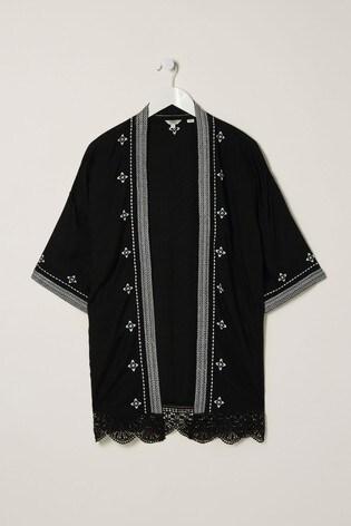 FatFace Black Whitmore Embroidered Kimono