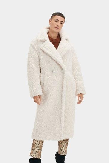UGG Winter White Gertrude Teddy Long Coat