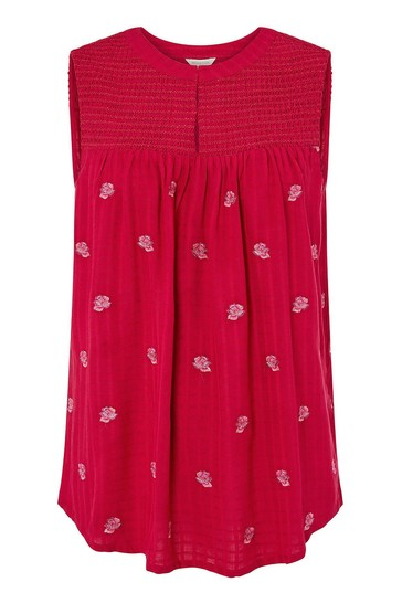 Monsoon Pink Rose Embroidered Tank Top