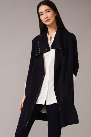 Phase Eight Blue Paloma Stud Knit Coat