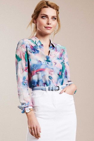 Pure Collection Pink Washed Silk Relaxed Blouse