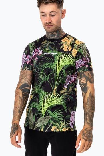 Hype. Mens Black Garden Print T-Shirt