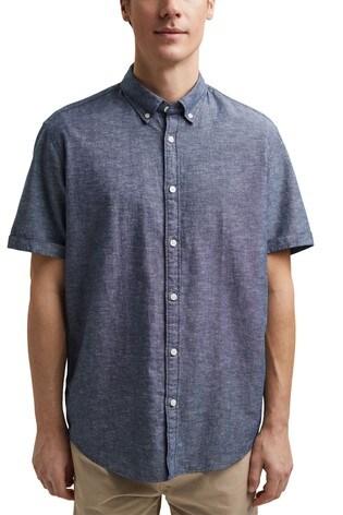 Esprit Blue Linen/Organic Cotton Short Sleeved Shirt