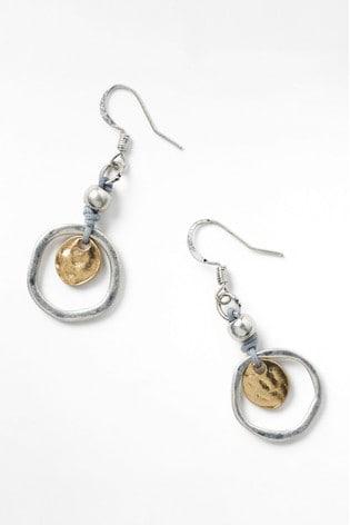 White Stuff Cord & Disc Circle Earrings