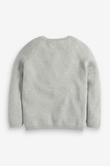 Grey Without Stag Textured Crew Jumper (3-16yrs)