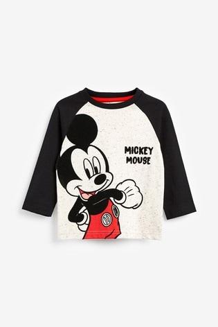 Ecru Long Sleeve Raglan Mickey Mouse™ T-Shirt (3mths-8yrs)