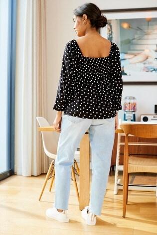 Black/White Spot Maternity Shirred Top
