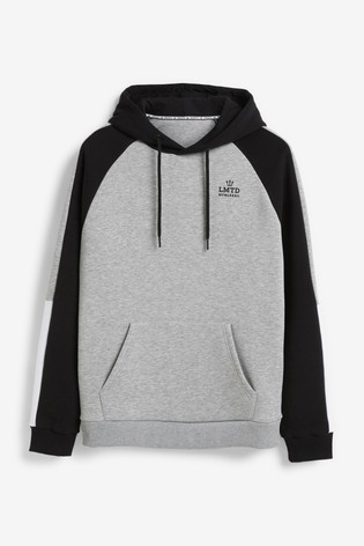 Black/Grey Raglan Overhead Hoody Colourblock Jersey