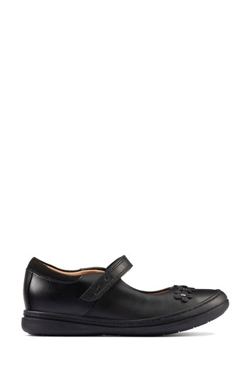 Clarks Black Leather Scooter Jump KIds Shoes