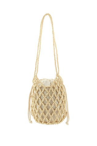 Accessorize Cream Beaded Shoulder Bag With Pouch