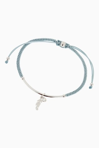 Sterling Silver Feather Charm Pully Bracelet