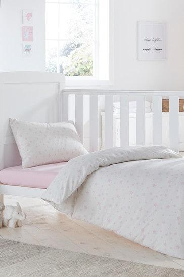 Silentnight Pink Safe Nights Pink Star Cot Bed Duvet Cover and Pillowcase Set