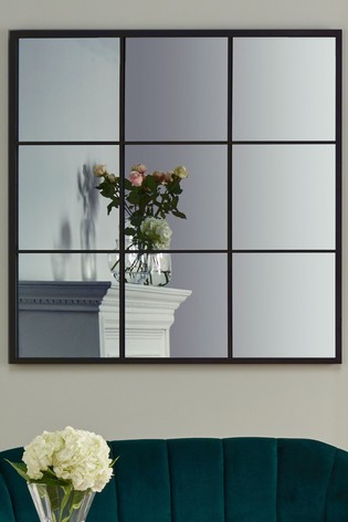 Dark Antique Silver Metal 9 Section Square Wall Mirror by Pacific