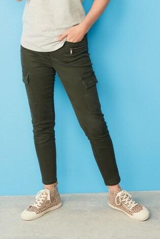 Khaki Cropped Utility Skinny Jeans