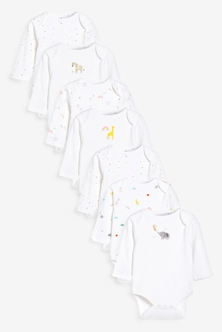 White 7 Pack GOTS Organic Character Long Sleeve Bodysuits (0mths-2yrs)