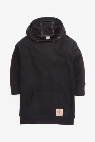 Black Longline Fleece Hoody (3-16yrs)
