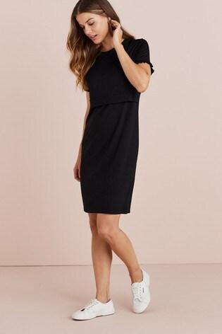 Black Maternity/Nursing Layer Detail Dress