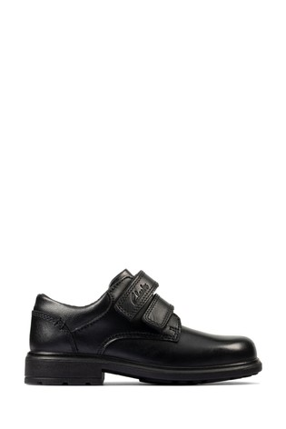 Clarks Black Leather Remi Pace Toddlers Shoes