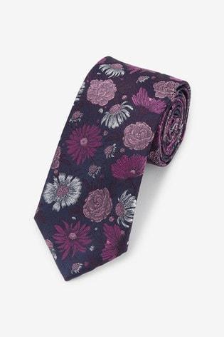 Purple Floral Pattern Tie