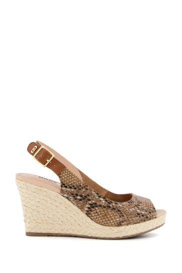 Dune London Wide Fit Kicks 2 Natural Print Leather Slingback Espadrille Wedge Sandals