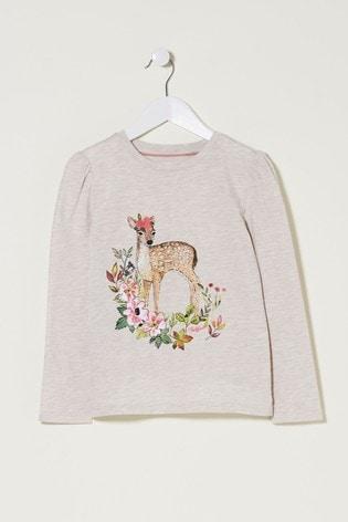 FatFace Natural Deer Graphic T-Shirt