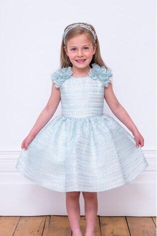 David Charles Blue/Ivory Organza Party Dress
