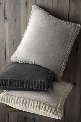 Catherine Lansfield Silver Velvet and Faux Fur Cushion