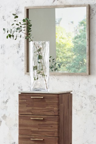Concrete Effect Wood Veneer Square Wall Mirror by Pacific