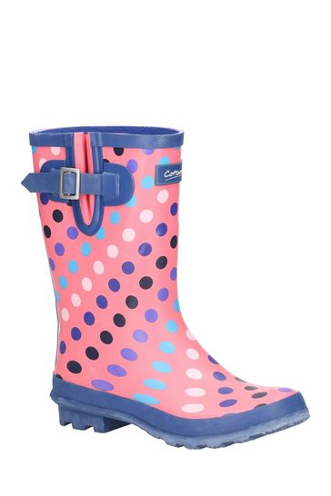 Cotswold Pink Paxford Elasticated Mid Calf Wellington Boots