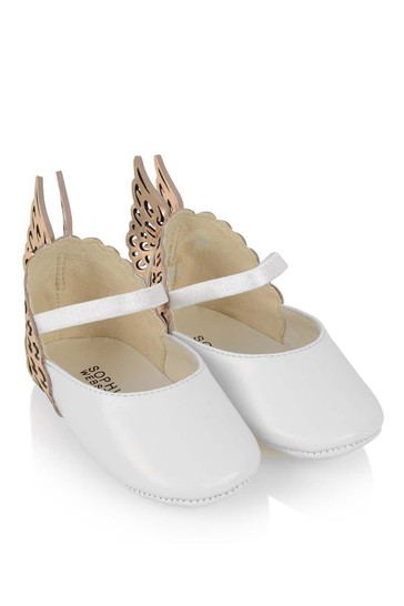 Baby Girls White/Rose Gold Leather Shoes
