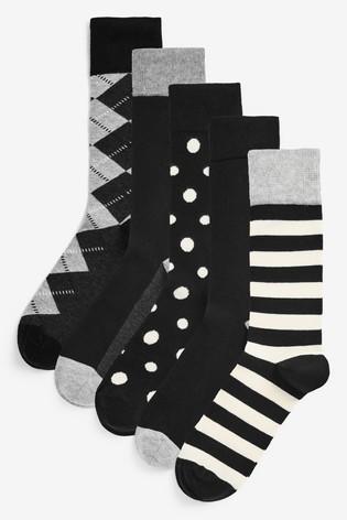 Happy Socks Black Argyle Pattern Socks Five Pack