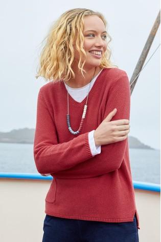 Seasalt Red Spin A Yarn Jumper