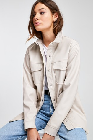 Stone Faux Leather Shirt