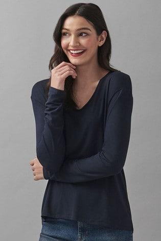 Crew Clothing Company Long Sleeve Pleat Back T-Shirt