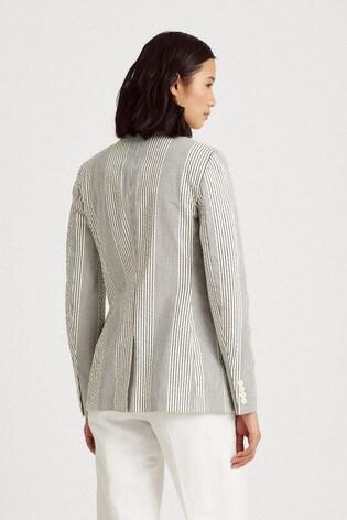 Lauren Ralph Lauren Blue White Stripe Ladrell Blazer