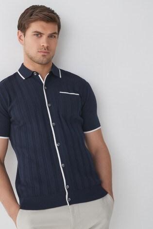 Navy Premium Button Through Polo Shirt