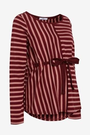 Berry Maternity Adjustable Tie Waist Stripe Jersey Top