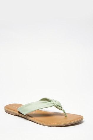 Mint Regular/Wide Fit Knot Toe Post Sandals