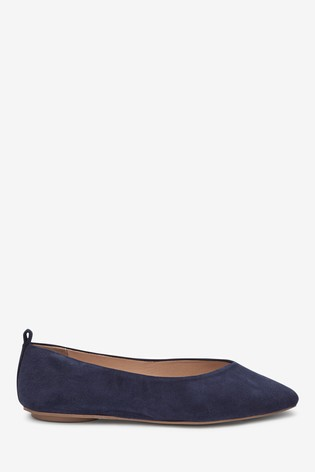 Navy Signature Forever Comfort® Leather Ballerina Shoes