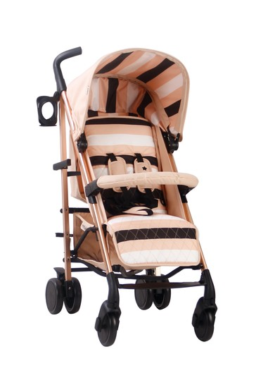AM to PM MB51 Blush Stripes Rose Gold Stroller by My Babiie