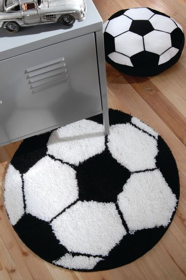 Catherine Lansfield White Football Shaped Rug