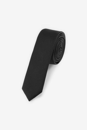 Black Super Skinny Twill Tie