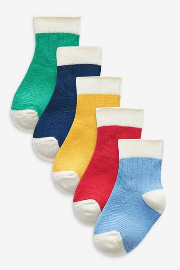 Bright Colourblock 5 Pack Socks (Younger)