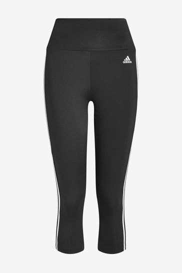 adidas 3 Stripe D2M High Waisted 3/4 Leggings