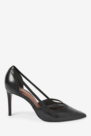 Black Signature Leather High Cut Out Court Shoes