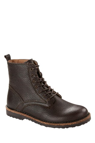 Birkenstock® Brown Grained Leather Lace Up Boots