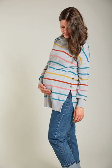 Frugi Maternity and Breastfeeding Roll Neck Grey Rainbow Cotton Jumper