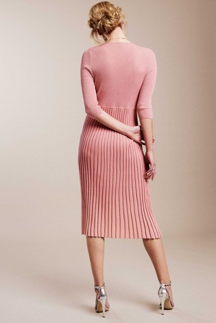 Pure Collection Pink Knitted V-Neck Pleat Dress